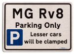 MG Rv8 Car Owners Gift| New Parking only Sign | Metal face Brushed Aluminium MG Rv8 Model